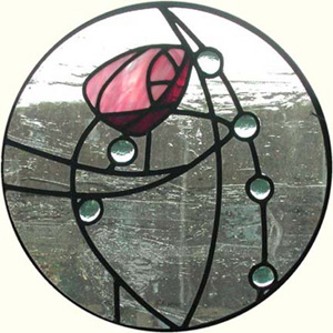 Glasgow Rose in leaded glass