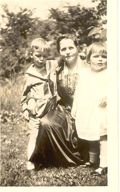 [ my grandmother's mother, Mia (aka Mary) Johannson Tucker (center), my uncle Max (right) and my mother (left)( approx 1925)]