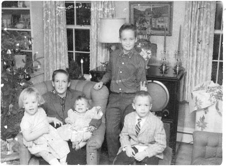 [ my cousins kurt, carl and mark Schweinshaut. the two little girls are me and my sister( 1961?)]